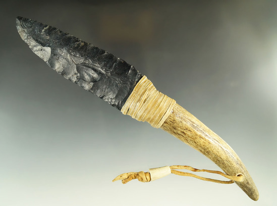 "4 3/4"" Authentic Coshocton Flint Blade found in Hocking Co., Ohio - contemporary antler handle."