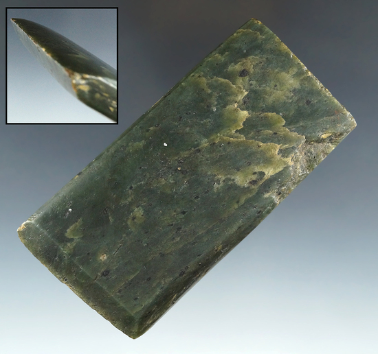 "Beautiful material color on this 4 5/16"" long Jadeite  Celt/Adze found in British Columbia."