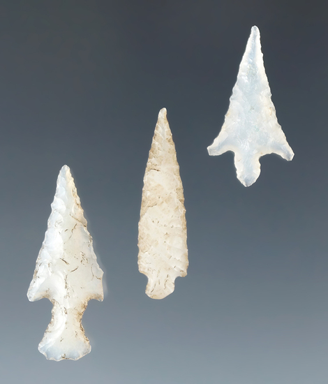 "Set of three Columbia River Gempoints made from nicely translucent agate, largest is 1 1/16""."