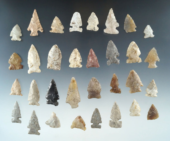 """Large group of 30+ assorted arrowheads from various locations, largest is 1 1/4""""."""