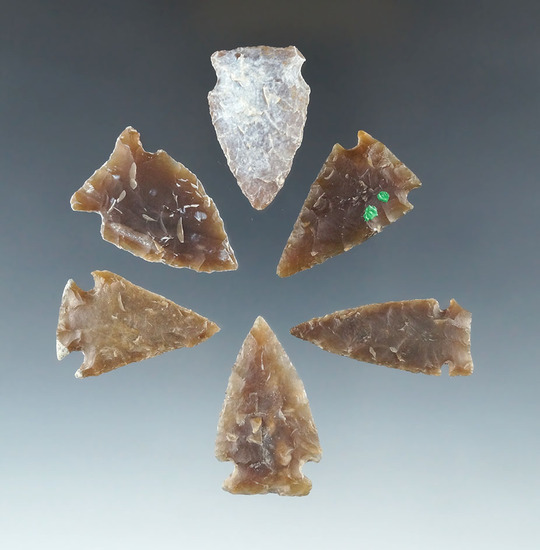 """Set of six assorted arrowheads found in the Dakotas, most are Knife  River Flint. Largest is 1 9/16"""""""