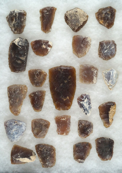 """Large group of Knife River Flint scrapers found in the Dakotas, largest is 1 7/8""""."""