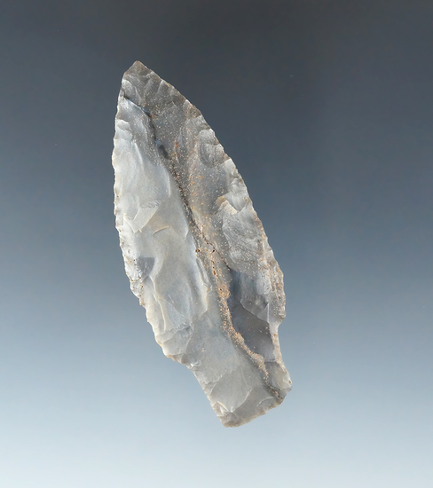 """3"""" Adena made from high-quality banded Hornstone found in Ohio."""