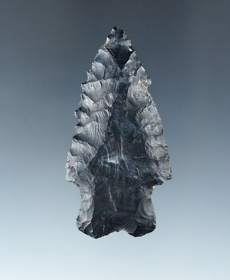 "2 3/8"" Serrated Bifurcate made from Coshocton Flint found in Brown County Ohio. Ex. Glenn Spray."