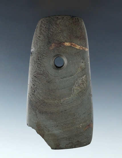 """4 1/4"""" Green banded slate Pendant, some damage to one corner , Marion Co., Ohio. Ex. Lynch. COA."""