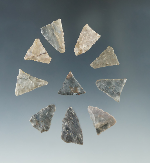 """Set of 10 Triangle points made from rare pipe Creek Flint found in Ohio, largest is 1""""."""