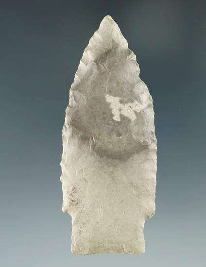 """Thin and nicely flaked 2 11/16"""" Paleo Stemmed Lanceolate found in Crawford Co., Ohio."""