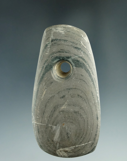 """3 1/16"""" nicely banded slate Pendant in good condition found in northern Ohio."""