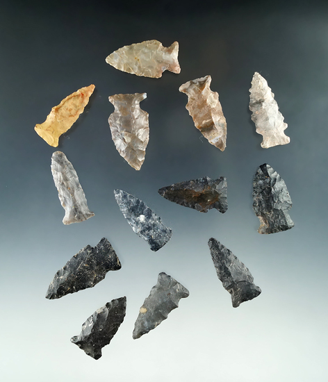 """Set of 13 Fishspear points found in Ohio, largest is 1 5/8""""."""