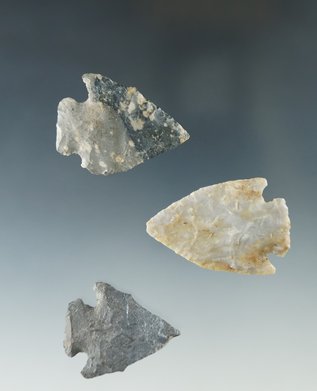 """Set of three Pentagonal points found in Ashland and Huron Co., Ohio, largest is 1 13/16""""."""