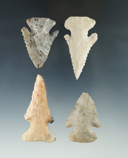 """Set of four Archaic Thebes Bevel Knives found in Ohio, largest is 2 3/8""""."""