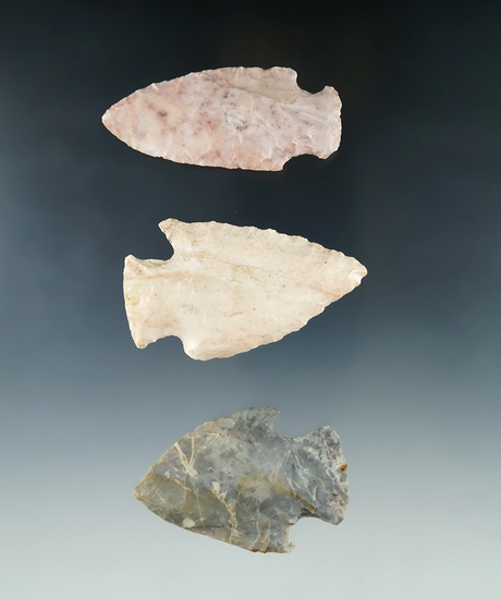 """Set of three Hopewell Knives found in Ohio, largest is 2 11/16""""."""