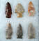Set of 6 Assorted Ohio Arrowheads, largest is 2 3/8