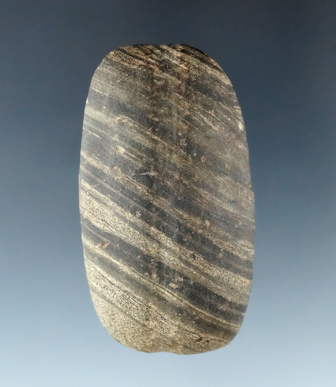 "2 3/8"" Banded Glacial Slate Loafstone that is grooved on the top, found in Mercer Co., Ohio."
