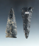 Pair of Coshcoton Flint Meadowood Points, largest is 2 13/16
