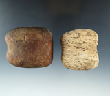 Pair of classic style Grooved Hammerstones found in Montgomery Co., Ohio, largest is 2 3/8