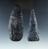 Pair of Ohio Coshocton Flint Knives that are nicely flaked, largest is 4 1/16