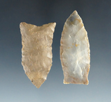 Pair of Ohio Paleo points found in Miami and Shelby Counties, largest is 2 1/8