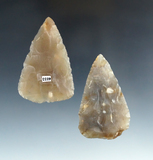 Pair of Hopewell Blades made from translucent Chalcedony, found in Ohio. Largest is 2 3/8