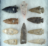 Set of 10 Assorted mostly Ohio arrowheads, largest is 3 1/4