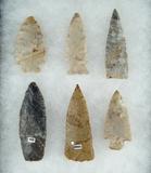 Set of 6 Assorted Ohio Arrowheads, one is a 2 7/8
