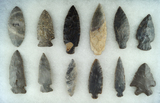 Group of 12 Assorted Ohio arrowheads, largest is 3 3/8