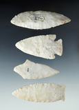 Set of 4 Midwestern Arrowheads, largest is 3 5/8