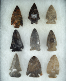 Set of 9 Assorted Ohio Arrowheads, largest is 2