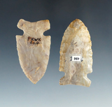 Pair of Ohio Sidenotch Points found in Pickaway and Darke Counties, largest is 2 1/4