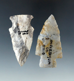Pair of well made arrowheads found in Wyandot and Muskingum Co, Ohio, largest is 2 11/16