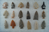 Set of 18 Mostly Ohio Arrowheads, largest is 2 1/8