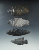 Set of 4 Coshocton Flint Arrowheads found in Ohio, largest is a 3 3/8