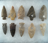 Set of 10 Assorted Midwestern Artifacts, largest is 2 7/8