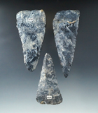 Set of 3 Triangular Knives made from beautifully mottled Coshocton Flint, largest is 3 9/16