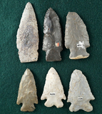 Set of 6 Assorted Ohio Arrowheads, largest is 3