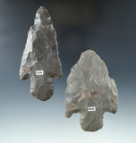 Pair of Hornstone Adenas that saw heavy use in ancient times, largest is 3 7/8