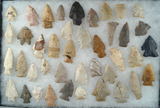 Set of approximately 40 Assorted Midwestern Arrowheads, largest is 2