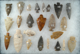 Group of 24 Assorted points, knives and drills from various locations, largest is 3 1/4