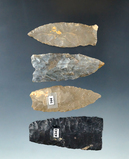 Set of 4 Assorted Ohio Lanceolates, 3 are Paleo, one is broken. Largest is 2 1/4