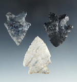 Set of 3 Archaic Arrowheads found in Ohio, largest is 2