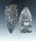 Pair of Coshocton Flint Sidenotch Points found in Mercer Co., Ohio, largest is 2 7/8