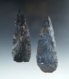 Pair of Coshocton Flint Archaic Blades found in Ohio, largest is 4 1/2
