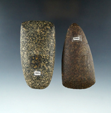 Pair of Ohio Hardstone Celts found in Delaware and Miami Counties, largest is 3 7/8