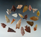 Set of 20 colorful arrowheads found in Nevada, largest is 1 3/8