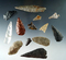 Group of 12 assorted points and knives found near Kettle Falls, Columbia River, Washington.