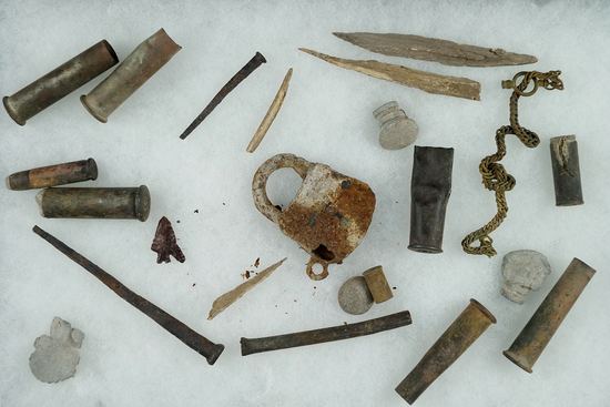 Group of assorted rare cartridges, rolled copper tube beads, square nails etc.  Washington.