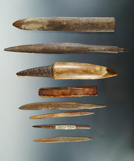 "Group of 8 assorted bone Inuit artifacts found in Alaska.  Largest is 6 1/2""."
