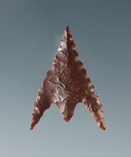 "Museum! 15/16"" well styled red Jasper Gunther point found in southern Oregon. Ex. Shewey."