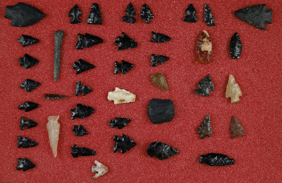 Group of assorted points including obsidian arrowheads -Burns Oregon and Gempoints - WA.