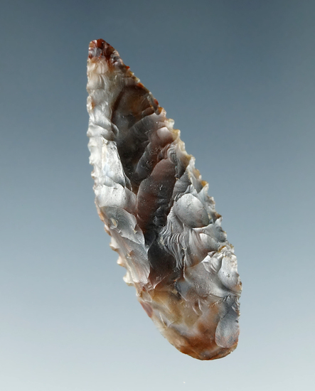 "Nicely serrated 1 5/8"" Leaf point made from very colorful agate found near the Columbia River."